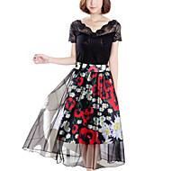 Women's Floral Black Skirts,Work Midi