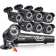 Zosi® 8ch ahd 720p dvr do cctv + 8pcs 720p 1.0mp ahd visão noturna de 100ft sistema de segurança ao ar livre à prova de intempéries
