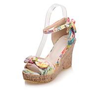 Women's Shoes PU Wedge Heel Wedges / Peep Toe Sandals Dress / Casual Yellow / Pink