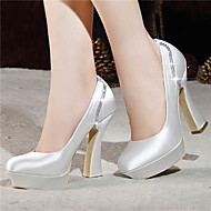 Women's Spring / Summer / Fall / Winter Heels / Platform / Closed Toe Satin Wedding / Dress / Party & Evening Chunky Heel CrystalRed /