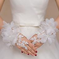 Até o Pulso Sem Dedos Luva Renda Luvas de Noiva Luvas de Festa Floral Bordados Strass