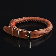 Dog Collar Waterproof Black / Brown Genuine Leather