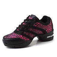 Scarpe da ballo-Non personalizzabile-Da donna-Sneakers da danza moderna-Quadrato-Finta pelle-Nero / Rosso / Bianco