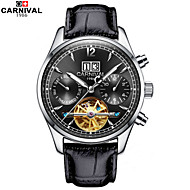 Carnival® Watches Multifunctional Hollow Flywheel Automatic Mechanical Watch Luminous Stainless Steel Mens Watch Cool Watch Unique Watch