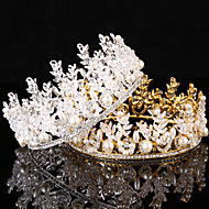 Bride's Rhinestone Imitation Pearl Forehead Wedding Crown Tiaras Headwear 1 Pieces