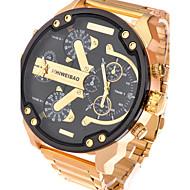 Men's Sport Watch Military Watch Dress Watch Fashion Watch Wrist watch Quartz Calendar Dual Time Zones Stainless Steel BandVintage Cool
