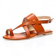 נעלי נשים-סנדלים-דמוי עור-טבעת אצבע-שחור / חום / כסוף-משרד ועבודה / קז'ואל / מסיבה וערב-עקב שטוח