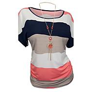 Women's Patchwork Blue / Red T-shirt,Round Neck Short Sleeve