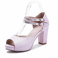 Women's Shoes Leatherette Chunky Heel Heels / Peep Toe Sandals Wedding / Party & Evening / Dress / Pink / White