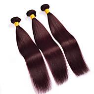 Hiukset kutoo Brasilialainen Straight 6 kuukautta 3 osainen hiukset kutoo