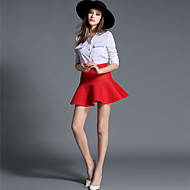 Women's Solid Red / Black Skirts,Casual / Day Above Knee