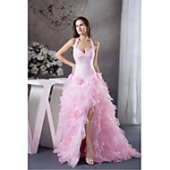 Formal Evening Dress-Blushing Pink Ball Gown Halter Court Train Organza