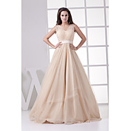 Formal Evening Dress-Champagne A-line Straps Floor-length Tulle
