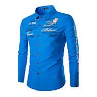 Print-Informeel / Formeel-Heren-Katoen-Overhemd-Lange mouw-Zwart / Blauw / Rood / Wit