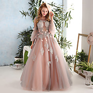 Formal Evening Dress-Pearl Pink Ball Gown Jewel Floor-length Lace / Tulle