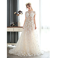 A-line Wedding Dress Court Train Jewel Chiffon / Lace / Tulle withPattern / Pearl / Sash / Ribbon / Appliques / Beading / Crystal /