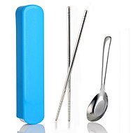 Pull-out Portable Stainless Steel Chopsticks Spoon Cutlery Sets(Random Color)