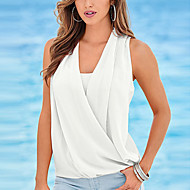 Women's Casual/Daily Sexy Summer T-shirt,Patchwork V Neck Sleeveless Pink / White / Green Polyester Thin