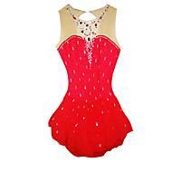 Robe de Patinage Femme Manches longues Patinage Jupes & Robes / Robes Robe de patinage artistique Elasthanne Rouge Tenue de Patinage