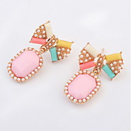 New Fashion Korean Jewelry Candy Colors Cute Women Sweet Bowknot Earrings Round Simulated Pearl Drop Earrings