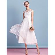 Lanting Bride® A-line Wedding Dress Tea-length Bateau Organza with Lace / Sash / Ribbon / Appliques / Bow