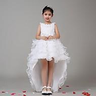 A-line Asymmetrical Flower Girl Dress - Chiffon / Stretch Satin Sleeveless Jewel with