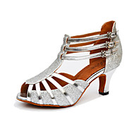 Women's Dance Shoes Salsa Leatherette / Sparkling Glitter Flared Heel Black / Brown / Silver