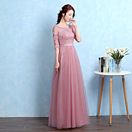 포멀 이브닝 드레스 A-라인 스쿱 바닥 길이 튤 와 아플리케