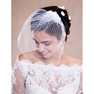 Wedding Veil One-tier Blusher Veils / Veils for Short Hair / Headpieces with Veil Raw Edge Tulle White