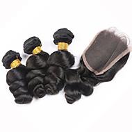 Trama do cabelo com Encerramento Cabelo Brasileiro Ondulação Larga 12 meses 4 Peças tece cabelo