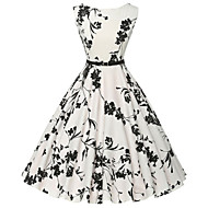 Women's Vintage / Simple Floral Sheath / Skater Dress,Round Neck Knee-length Cotton