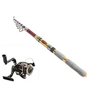 Telespin Rod / Fishing Rod + Reel / Fishing Rod Telespin Rod Carbon 235 M Sea Fishing Rod & Reel Combos Red