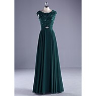 Formal Evening Dress Ball Gown Scoop Floor-length Chiffon / Lace / Charmeuse withBeading / Lace / Pearl Detailing / Ruffles / Sash