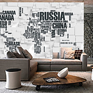3D Shinny Leather Effect Large Mural Wallpaper Stereoscopic World Map Art Wall Decor for Living Room
