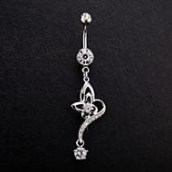bayan paslanmaz çelik zirkon göbek göbek halkası dans vücut takı piercing vücut mücevher
