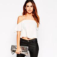 Women's Solid White / Black Blouse,Strap Short Sleeve