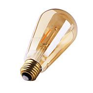 1 pç GMY E26/E27 2W 2 COB ≥180 lm Branco Quente ST64 edison Vintage Lâmpadas de Filamento de LED AC 220-240 V