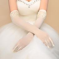 Até o Cotovelo Sem Dedos Com Dedos Luva Elastano Luvas de Noiva Luvas de Festa Primavera Outono Inverno Miçangas