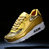 Women's Shoes Leatherette Flat Heel Comfort Fashion Sneakers Casual Black / White / Gold