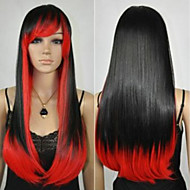 die neue Art und Weise Perücke rote und schwarze Farbmischung cos langen geraden Haar Perücken