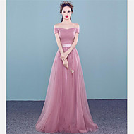 Formal Evening Dress A-line Off-the-shoulder Floor-length Tulle with Beading / Side Draping
