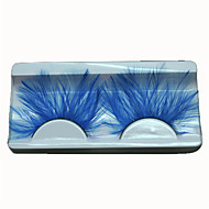 Beauty Feather Eyelashes Individual False Eyelashes Blue Color For Lashes Happy Party