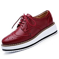 Women's Spring Summer Fall Winter Comfort Leather Casual Flat Heel Lace-up Black Burgundy