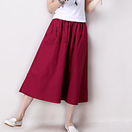 Women's Solid Red / Green Skirts,Vintage / Casual / Day Embroidered Elastic Waist Midi Loose Cotton/Linen