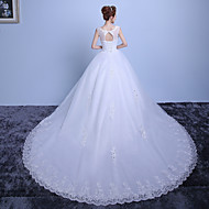 Ball Gown Wedding Dress Cathedral Train Scoop Lace / Satin / Tulle with Lace