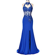 Formal Evening Dress Trumpet / Mermaid High Neck Floor-length Lace / Satin with Appliques / Beading / Split Front / Sequins