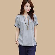 Women's Solid Blue / White / Gray Blouse,V Neck Short Sleeve