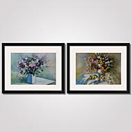 Květiny a rostliny / Klidný život / Volný čas Tisky v rámu / Kanvas v rámu / Set v rámu Wall Art,PVC Černá Včetně pasparty s rámemWall