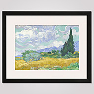Framed Wheat Field with Cypresses by Van Gogh  40x50cm Modern Canvas Print Art for Wall Decoration Ready To Hang