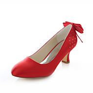Women's Shoes Stretch Satin Chunky Heel Heels / Round Toe Heels Wedding / Party & Evening / Dress Red